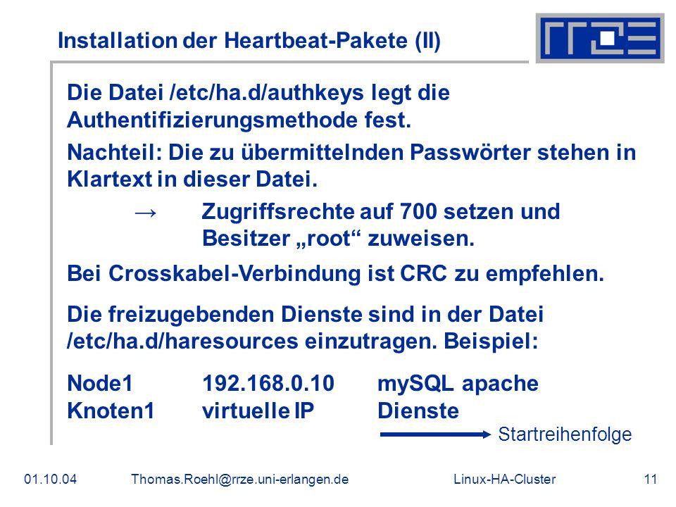 Installation der Heartbeat-Pakete (II)