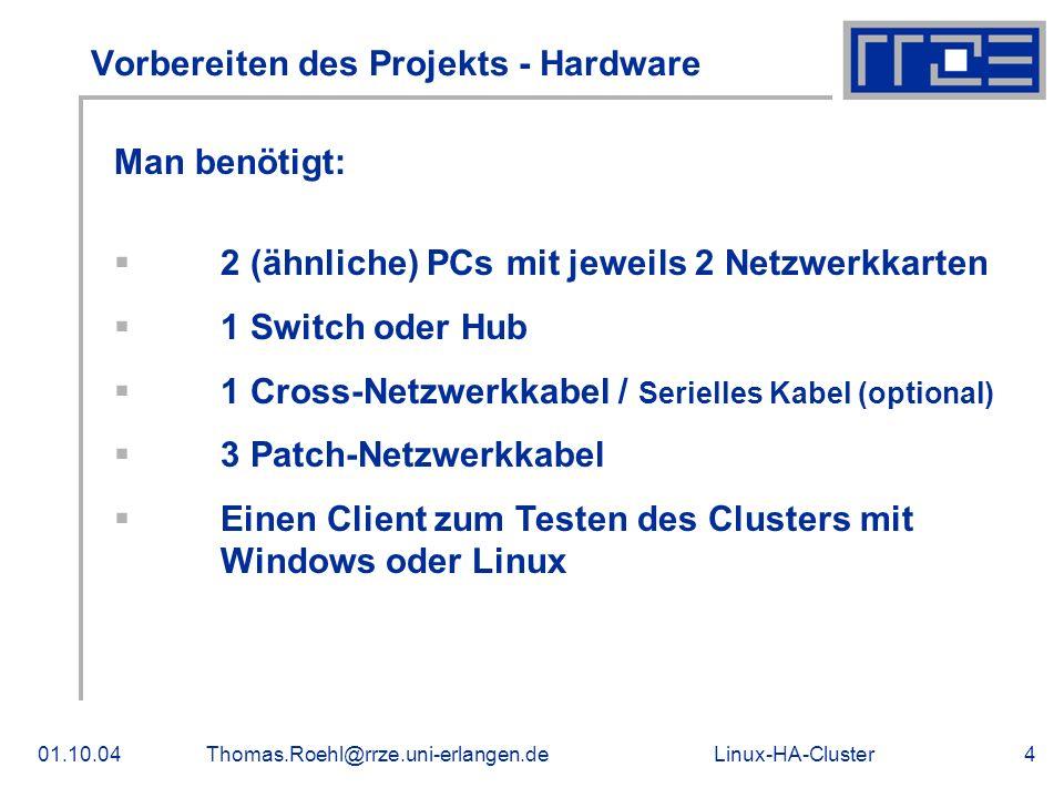 Vorbereiten des Projekts - Hardware