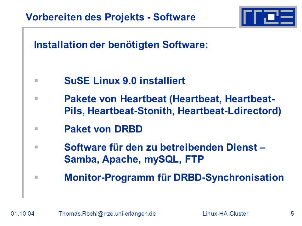 Vorbereiten des Projekts - Software