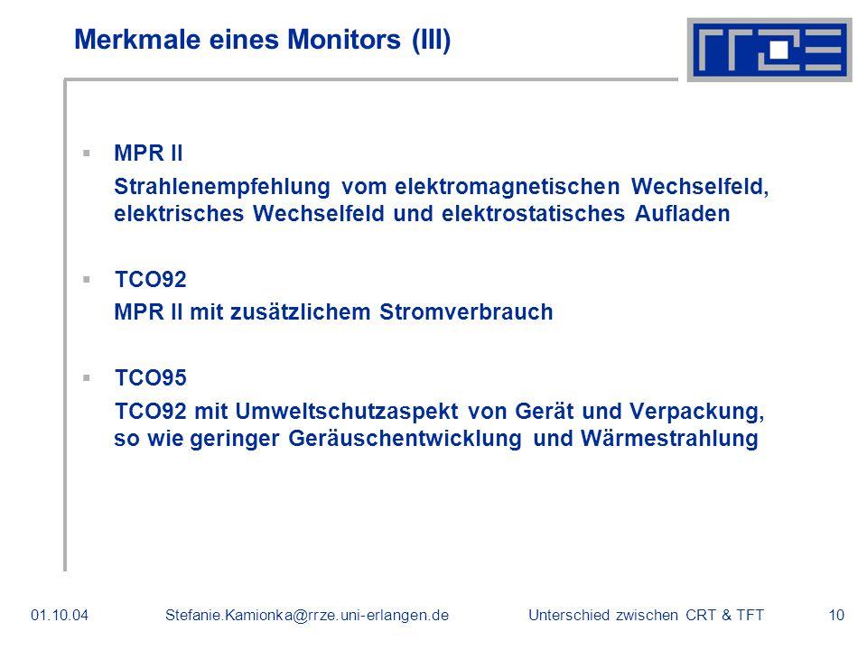 Merkmale eines Monitors (III)