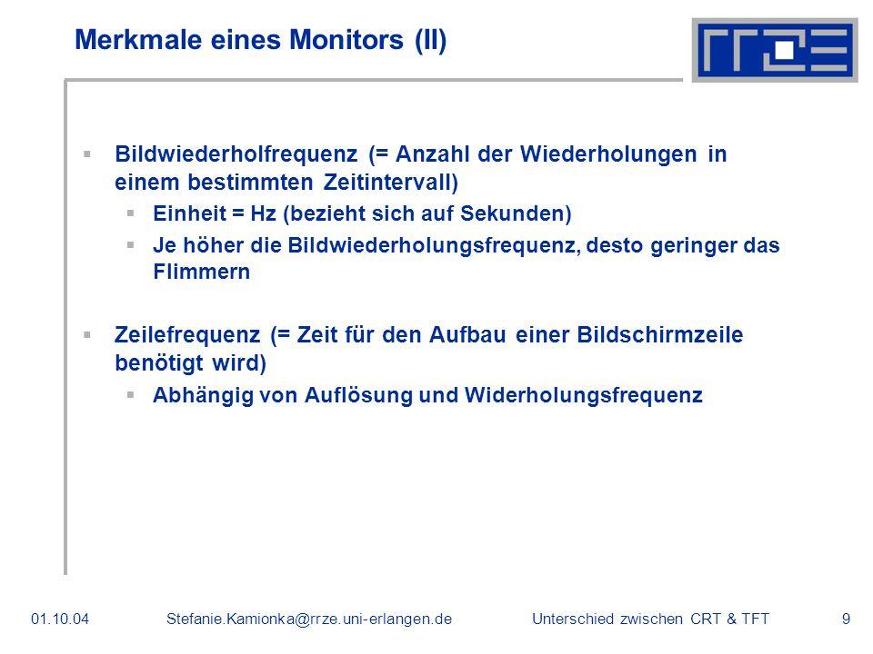 Merkmale eines Monitors (II)
