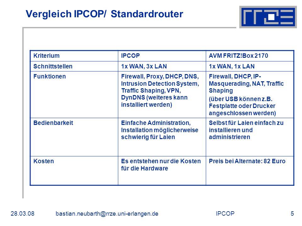 Vergleich IPCOP/ Standardrouter