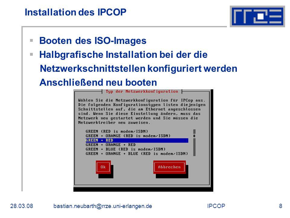 Installation des IPCOP