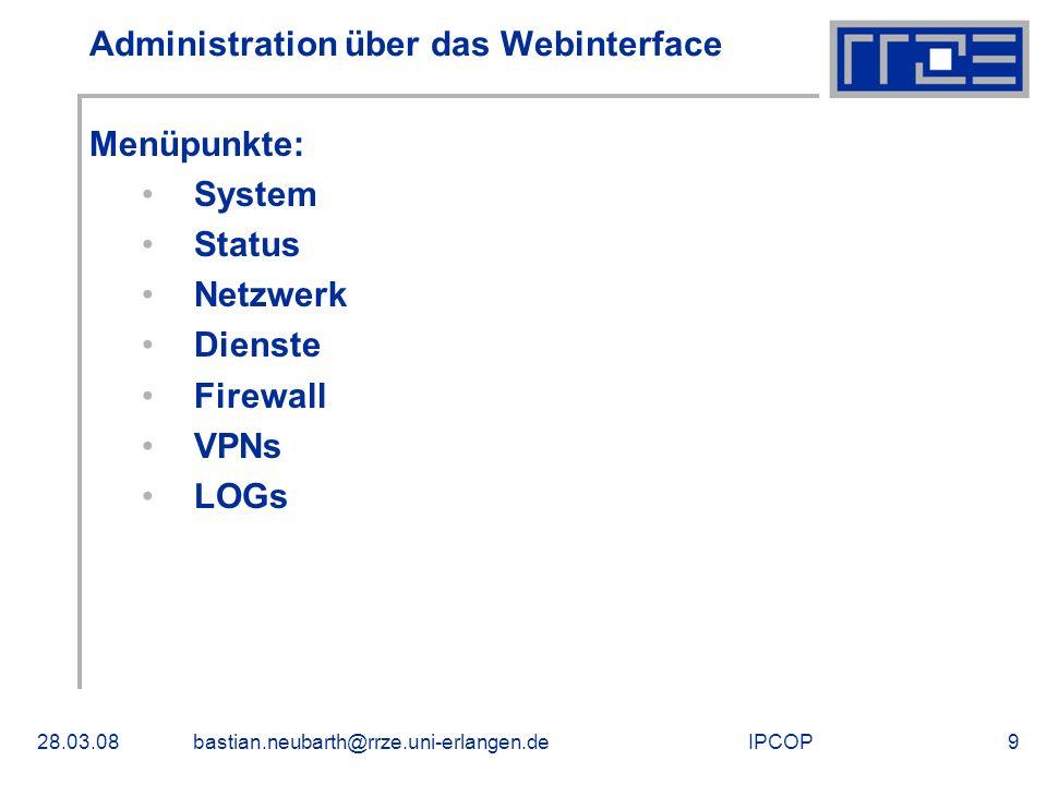 Administration über das Webinterface
