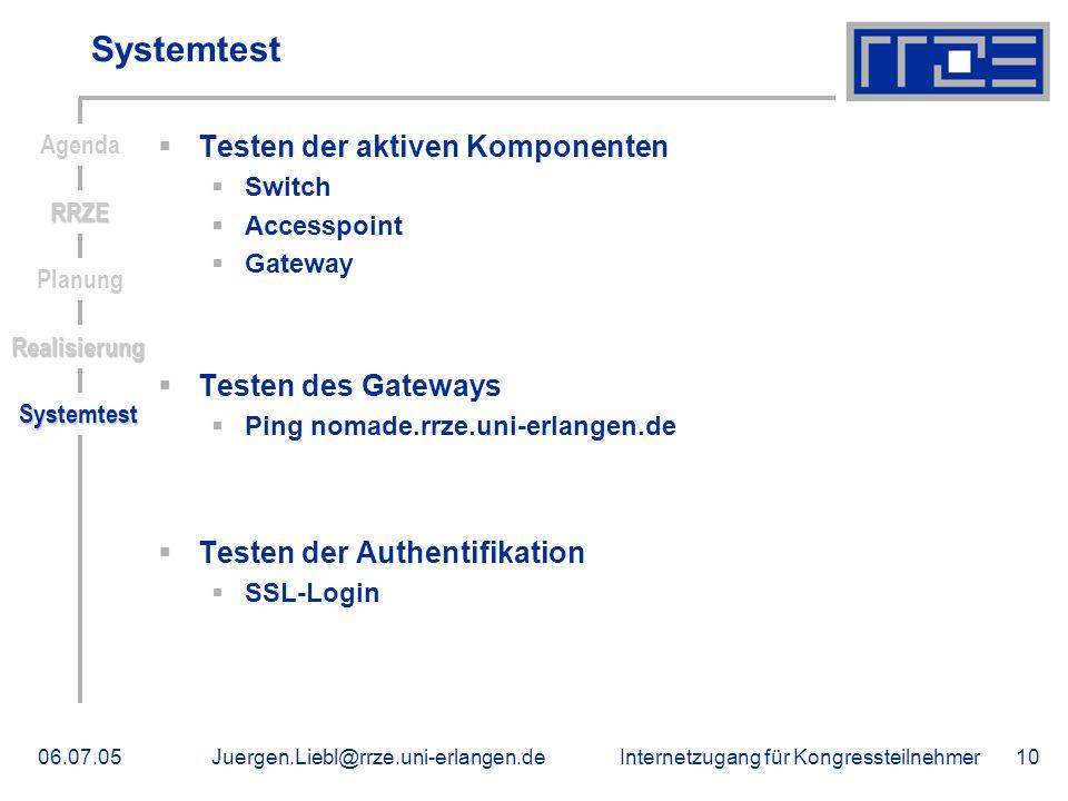 Systemtest Testen der aktiven Komponenten Testen des Gateways