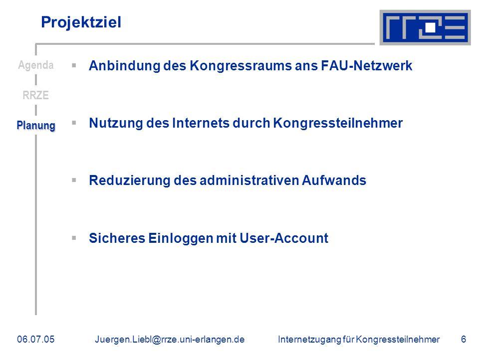 Projektziel Anbindung des Kongressraums ans FAU-Netzwerk