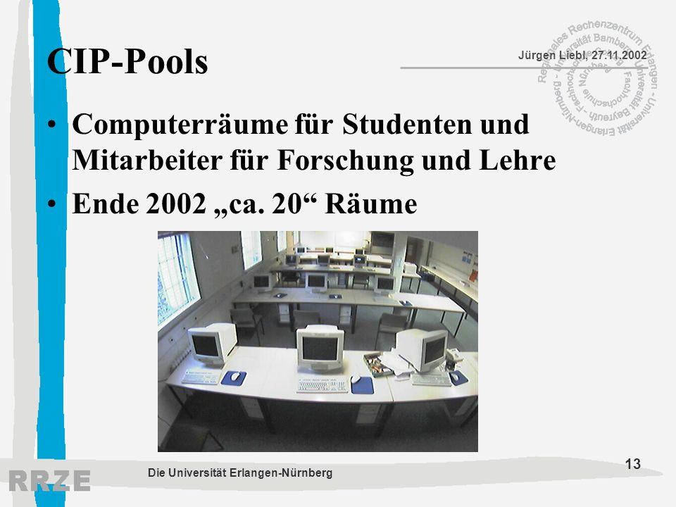 """CIP-Pools Computerräume für Studenten und Mitarbeiter für Forschung und Lehre. Ende 2002 """"ca. 20 Räume."""
