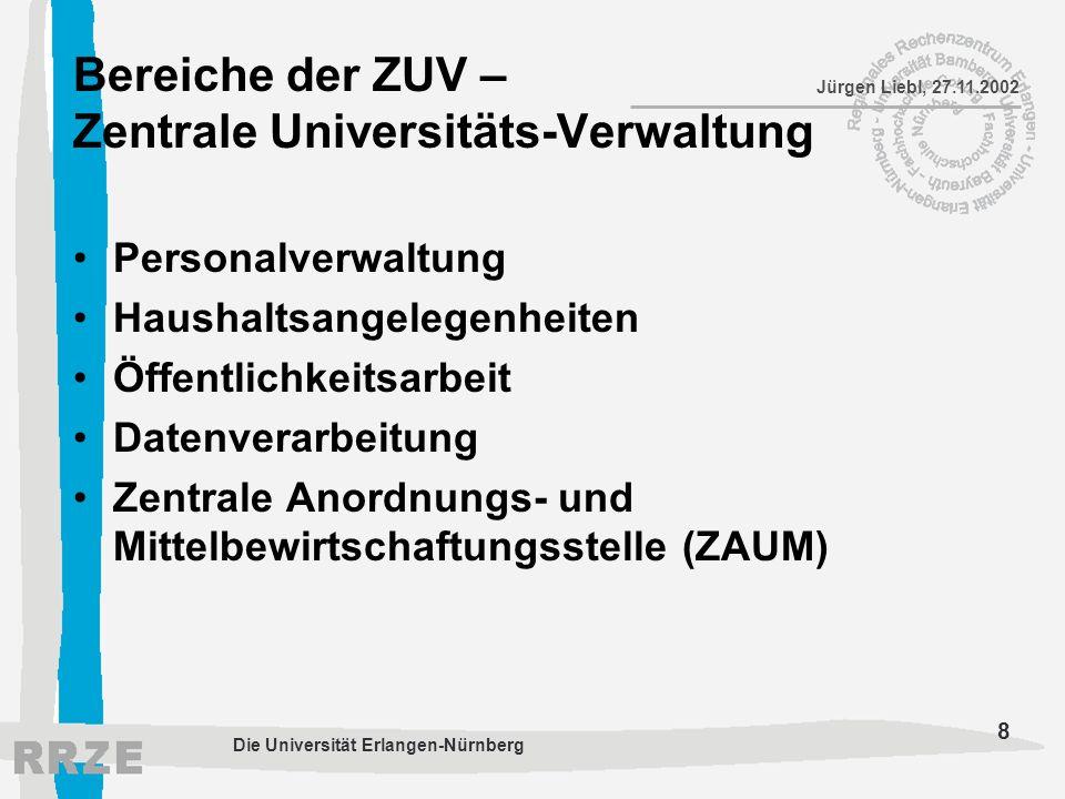 Bereiche der ZUV – Zentrale Universitäts-Verwaltung