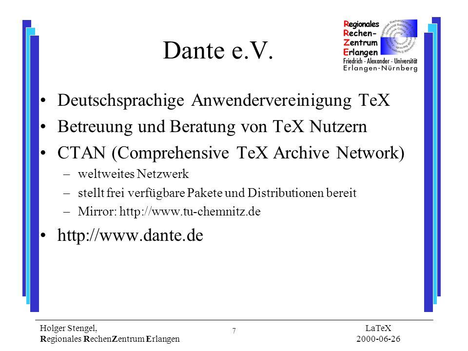 Dante e.V. Deutschsprachige Anwendervereinigung TeX