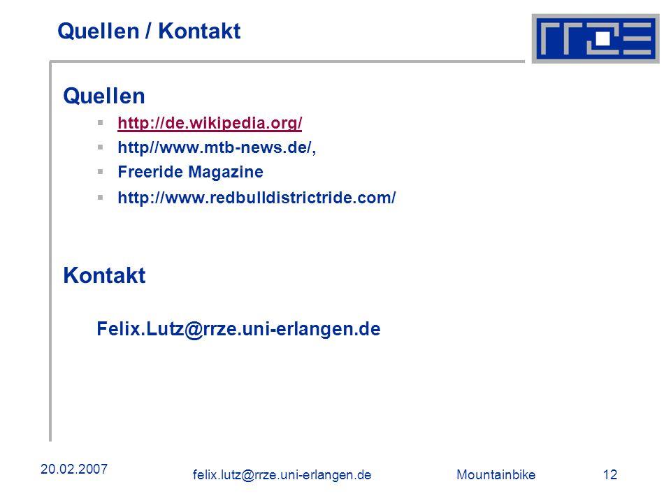 Quellen / Kontakt Quellen Kontakt Felix.Lutz@rrze.uni-erlangen.de