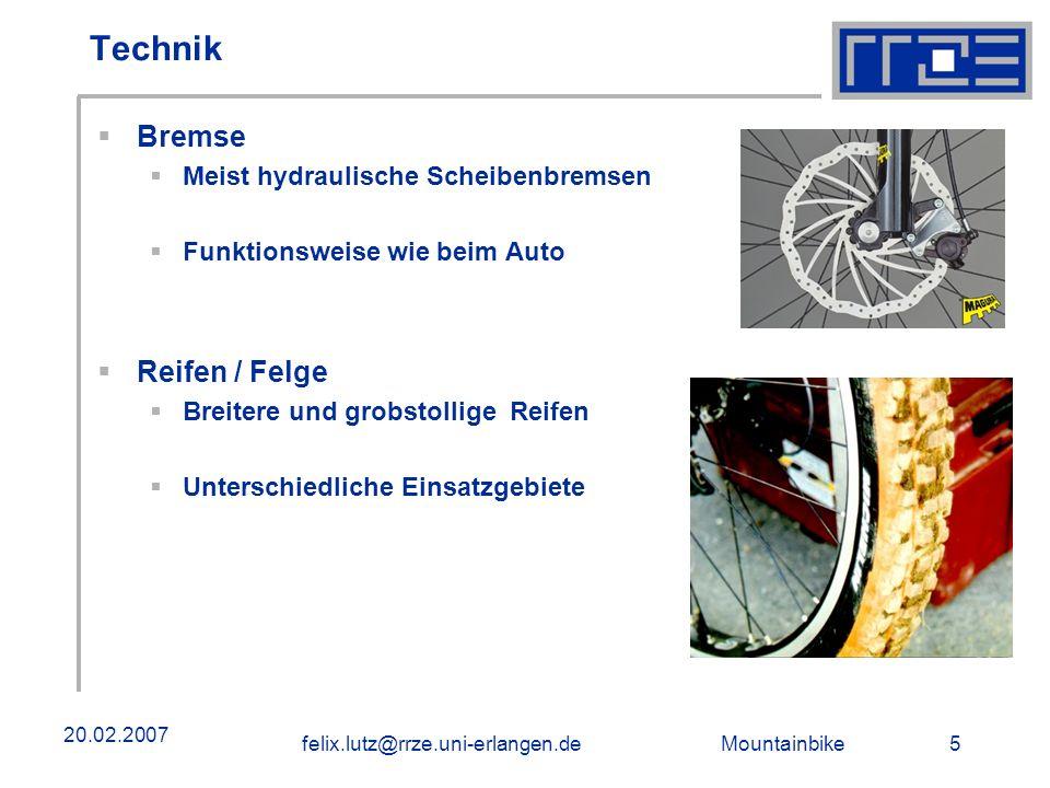 Technik Bremse Reifen / Felge Meist hydraulische Scheibenbremsen