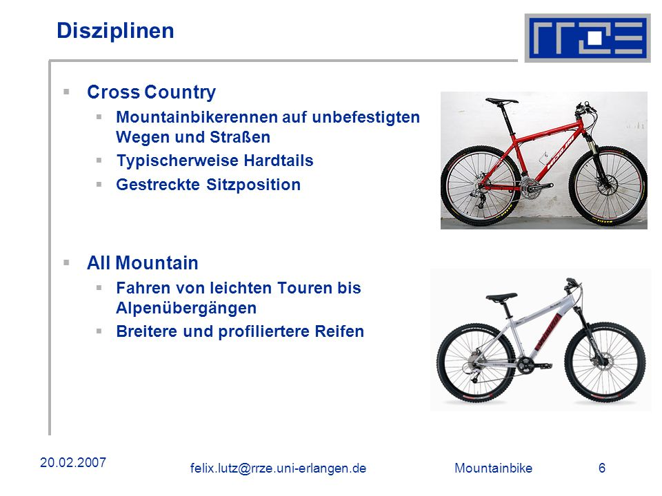Disziplinen Cross Country All Mountain
