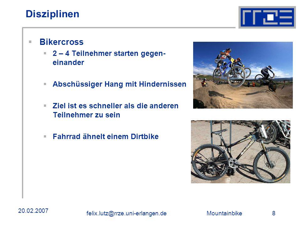 Disziplinen Bikercross 2 – 4 Teilnehmer starten gegen- einander