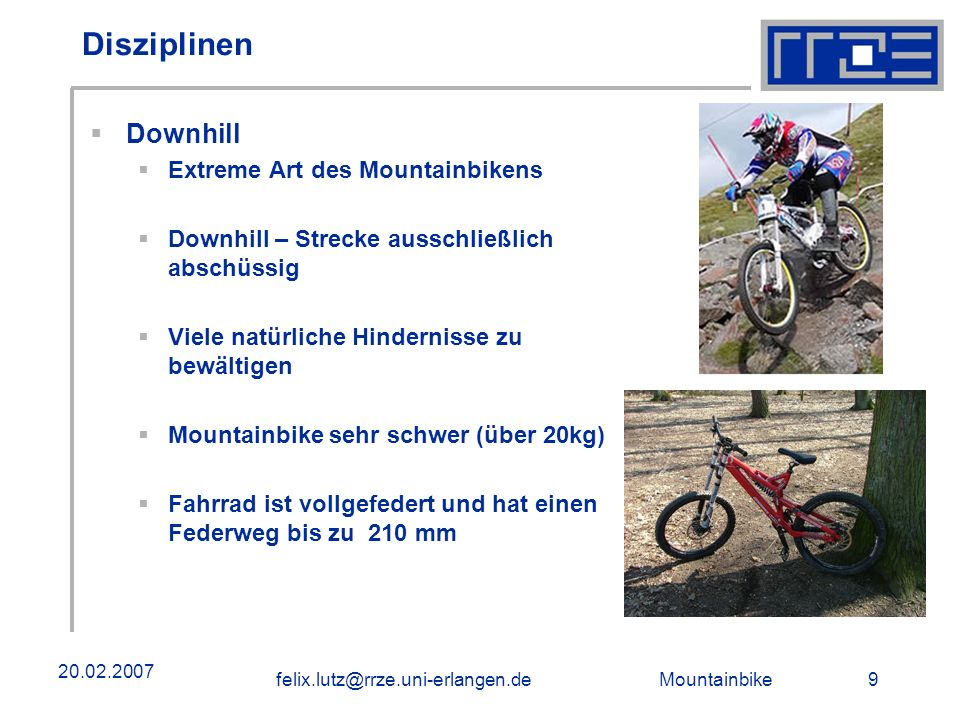 Disziplinen Downhill Extreme Art des Mountainbikens