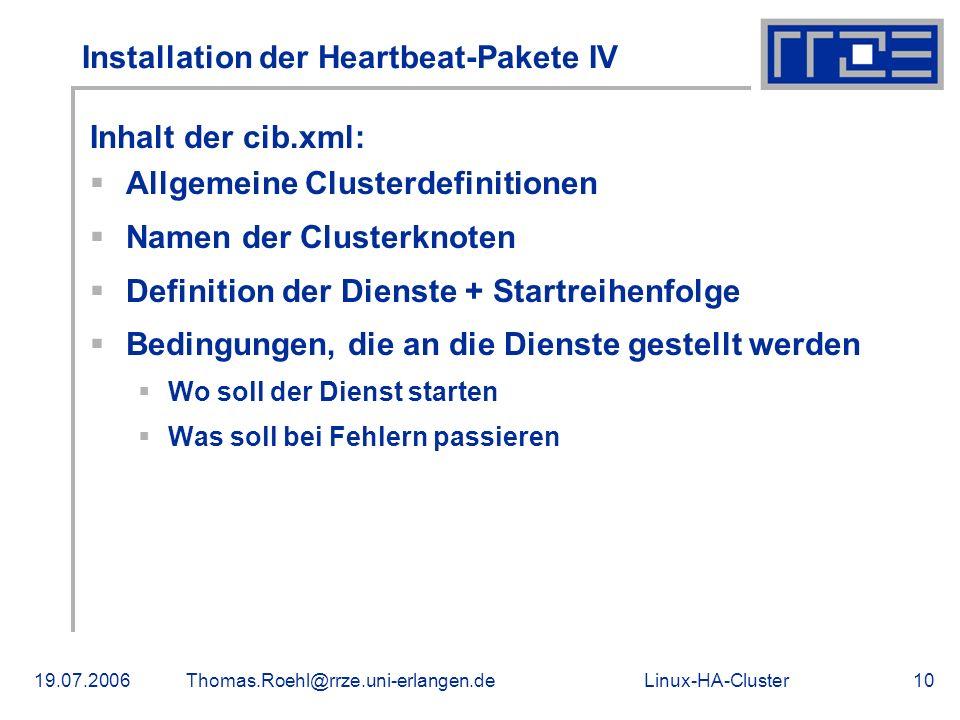Installation der Heartbeat-Pakete IV