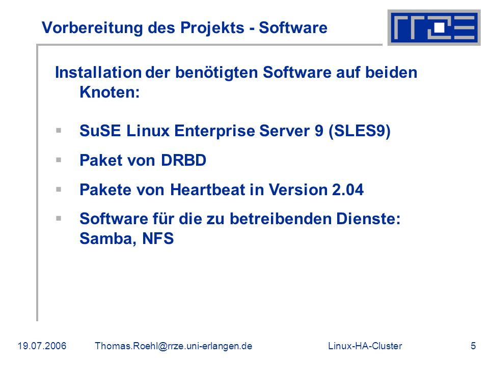 Vorbereitung des Projekts - Software