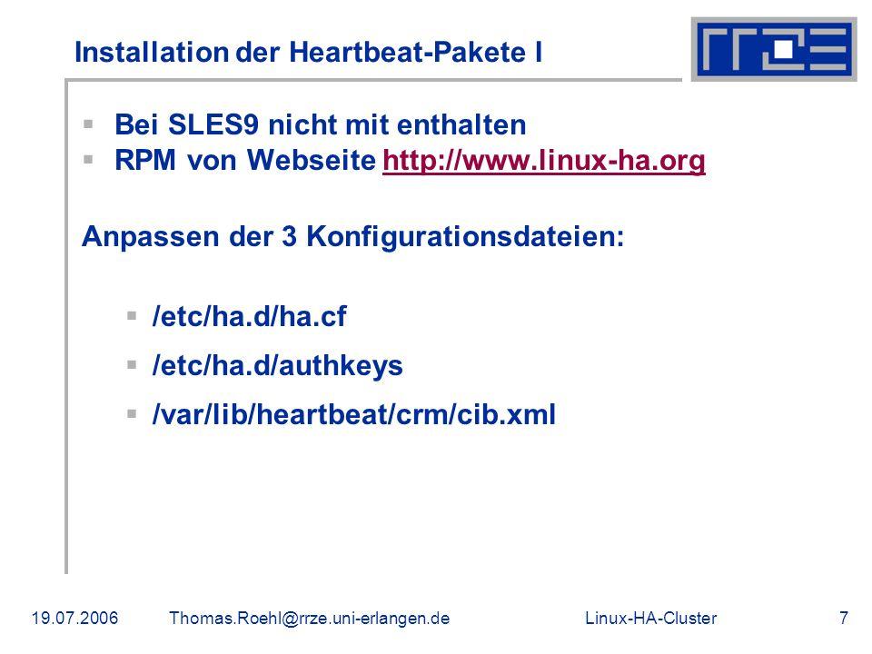 Installation der Heartbeat-Pakete I