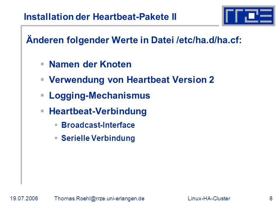 Installation der Heartbeat-Pakete II