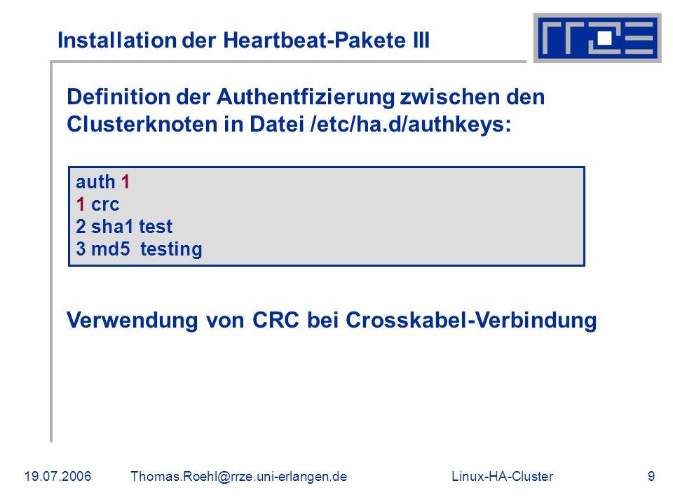 Installation der Heartbeat-Pakete III