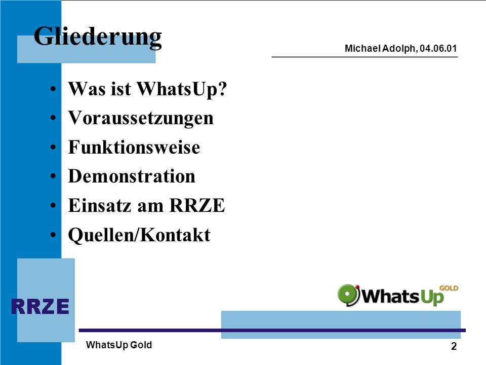 Gliederung Was ist WhatsUp Voraussetzungen Funktionsweise
