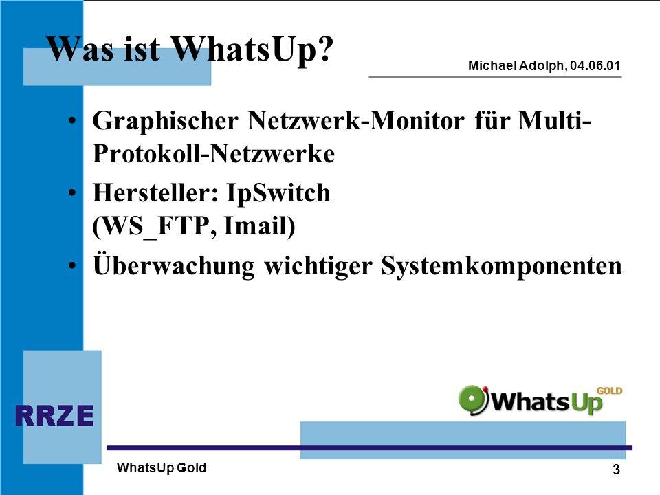 Was ist WhatsUp Graphischer Netzwerk-Monitor für Multi-Protokoll-Netzwerke. Hersteller: IpSwitch (WS_FTP, Imail)
