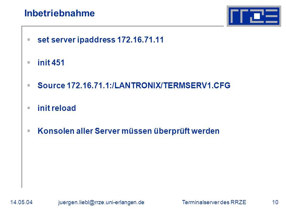 Inbetriebnahme set server ipaddress 172.16.71.11 init 451
