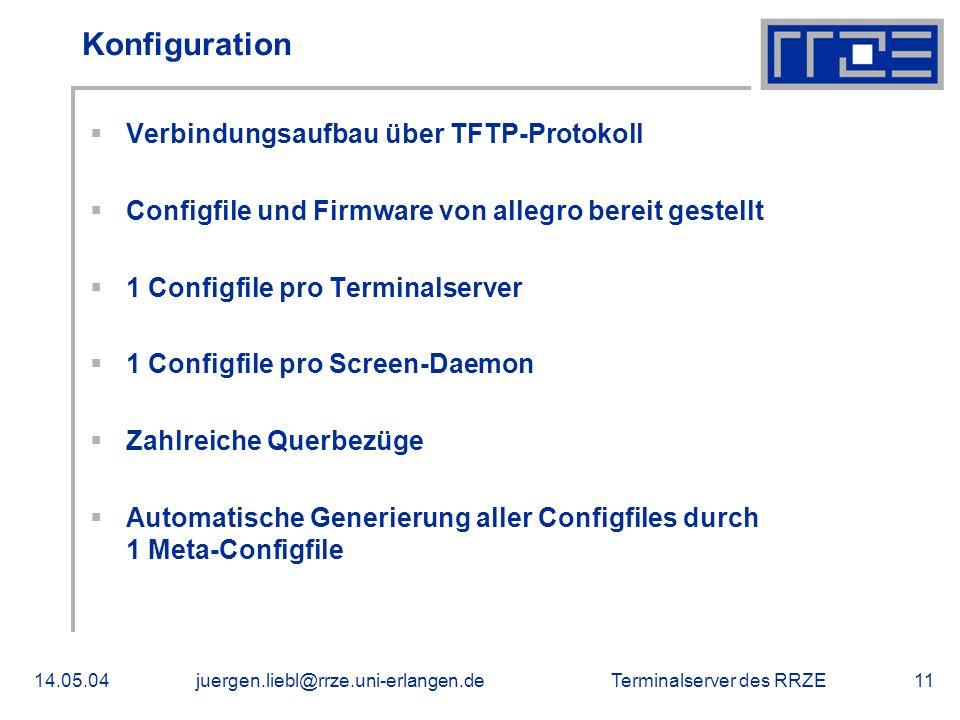 Konfiguration Verbindungsaufbau über TFTP-Protokoll