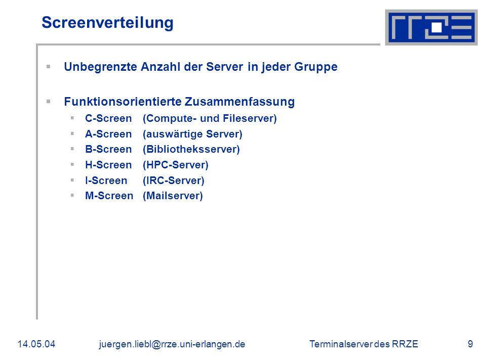 Screenverteilung Unbegrenzte Anzahl der Server in jeder Gruppe