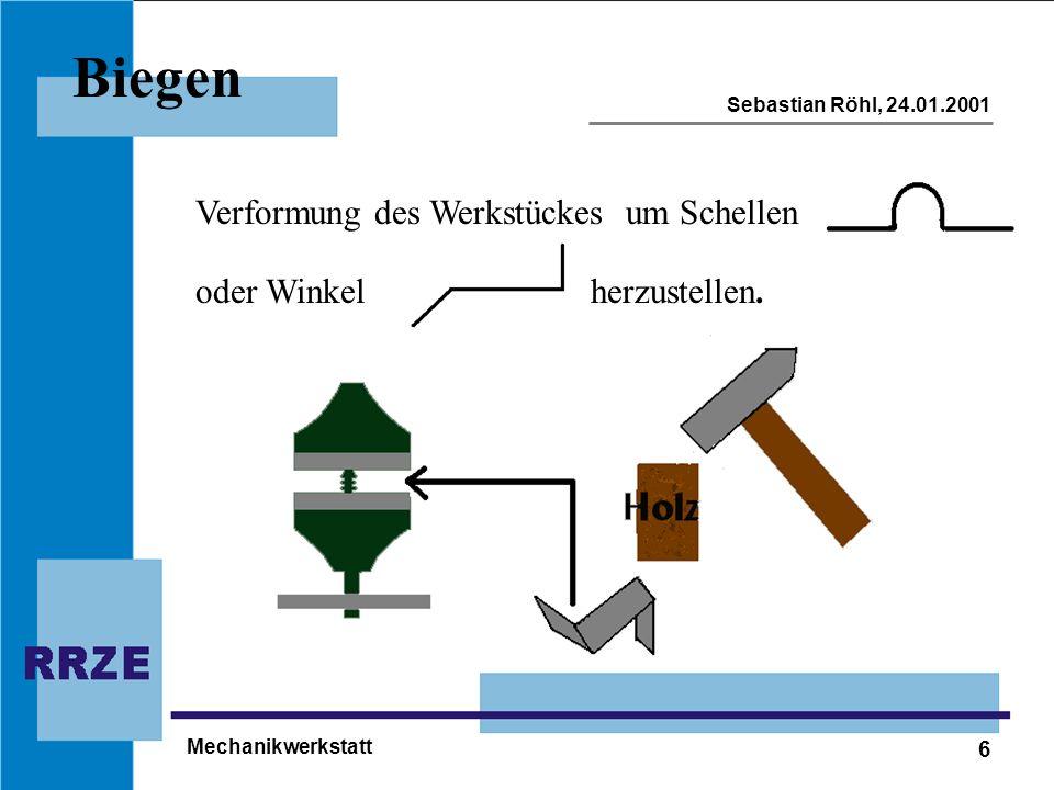 Biegen Verformung des Werkstückes um Schellen oder Winkel