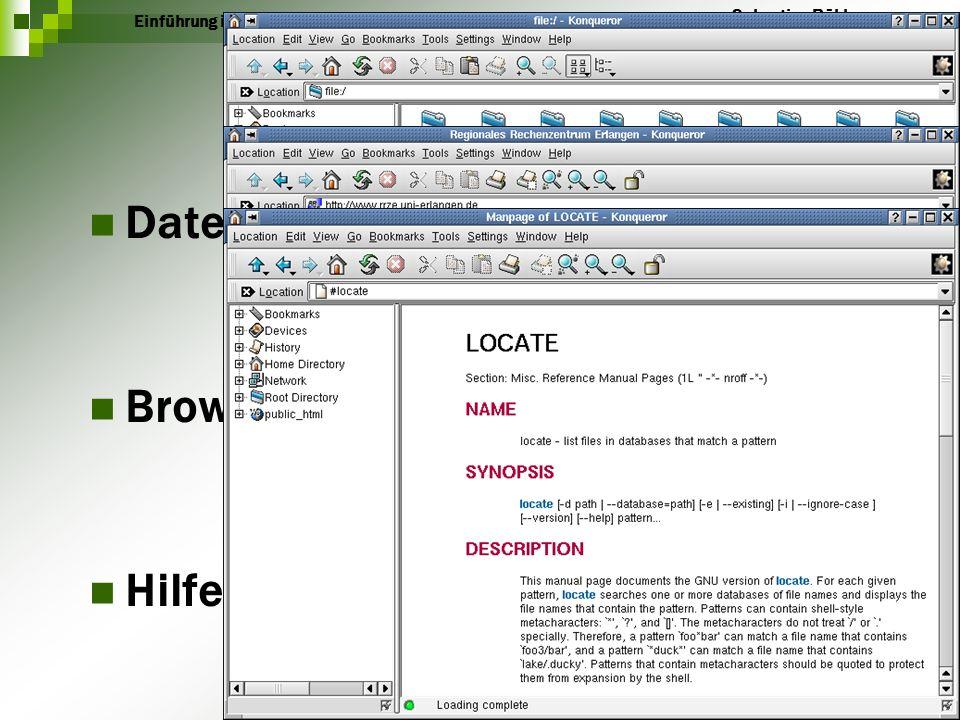 Konquerer Dateimanager Browser Hilfe Einführung in KDE Sebastian Röhl