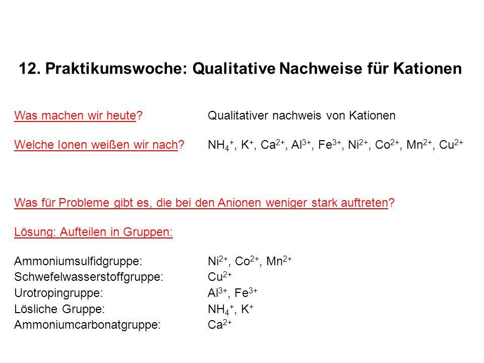 12. Praktikumswoche: Qualitative Nachweise für Kationen