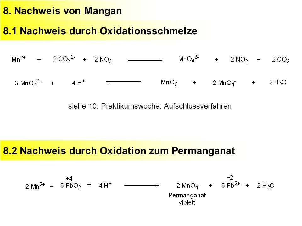 8.1 Nachweis durch Oxidationsschmelze