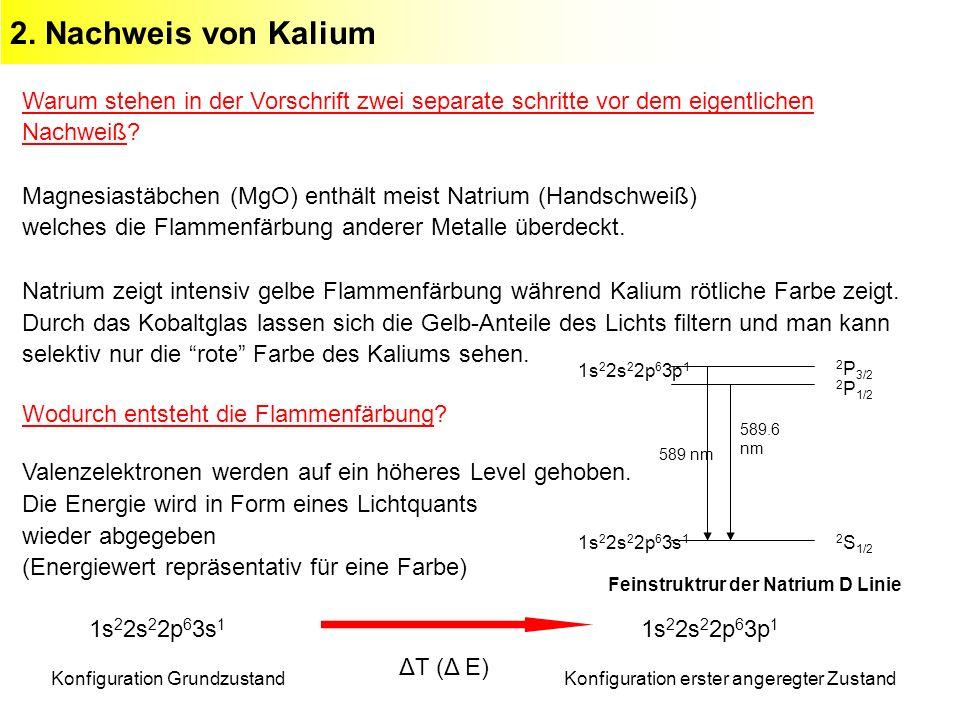 2. Nachweis von Kalium Warum stehen in der Vorschrift zwei separate schritte vor dem eigentlichen Nachweiß