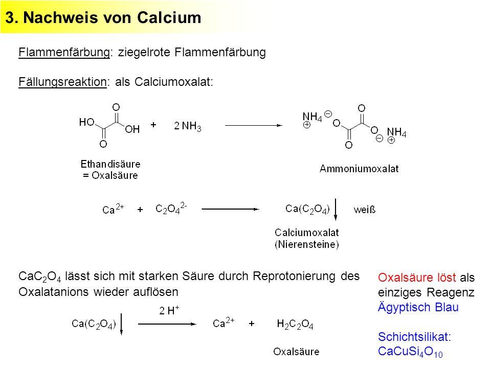 3. Nachweis von Calcium Flammenfärbung: ziegelrote Flammenfärbung