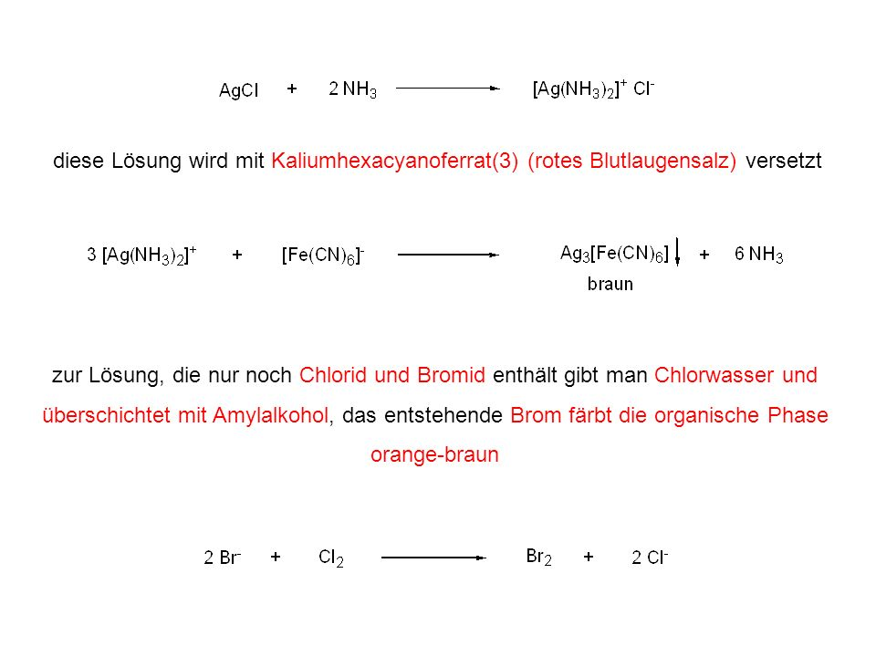 diese Lösung wird mit Kaliumhexacyanoferrat(3) (rotes Blutlaugensalz) versetzt