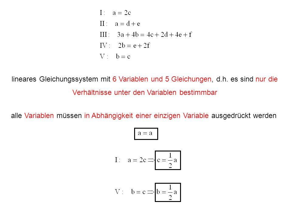 lineares Gleichungssystem mit 6 Variablen und 5 Gleichungen, d. h