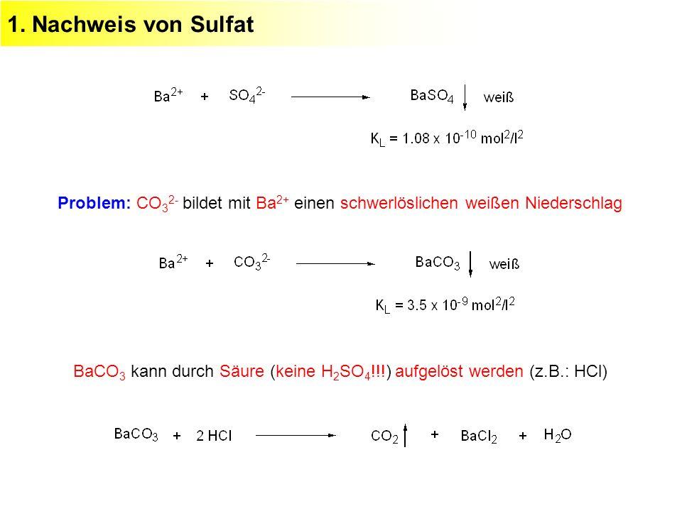 1. Nachweis von Sulfat Problem: CO32- bildet mit Ba2+ einen schwerlöslichen weißen Niederschlag.