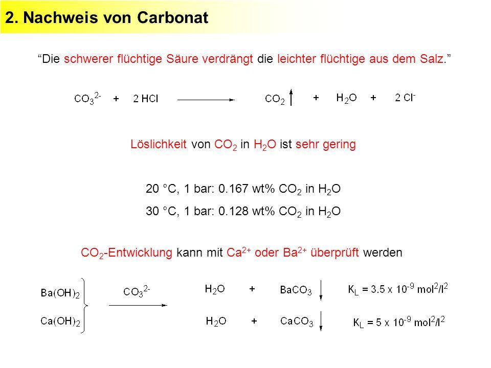 2. Nachweis von Carbonat Die schwerer flüchtige Säure verdrängt die leichter flüchtige aus dem Salz.