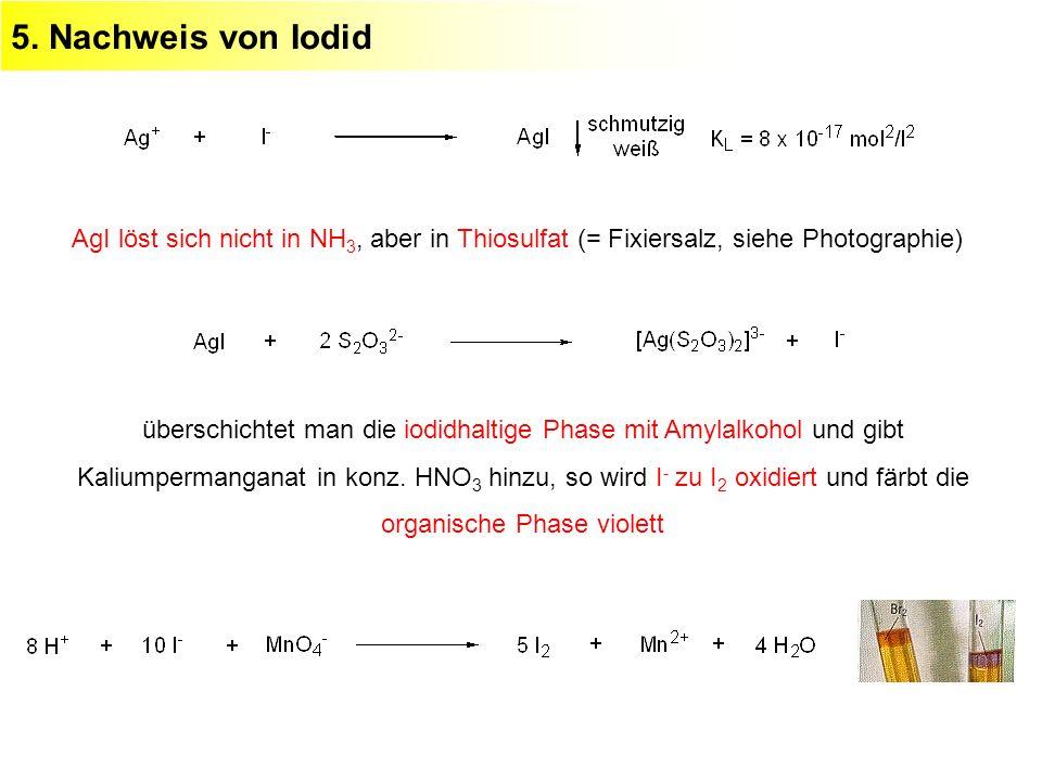 5. Nachweis von Iodid AgI löst sich nicht in NH3, aber in Thiosulfat (= Fixiersalz, siehe Photographie)