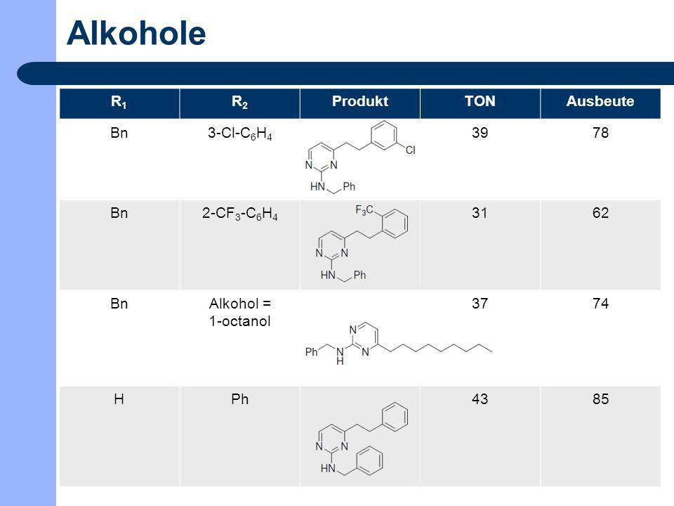 Alkohole R1 R2 Produkt TON Ausbeute Bn 3-Cl-C6H4 39 78 2-CF3-C6H4 31