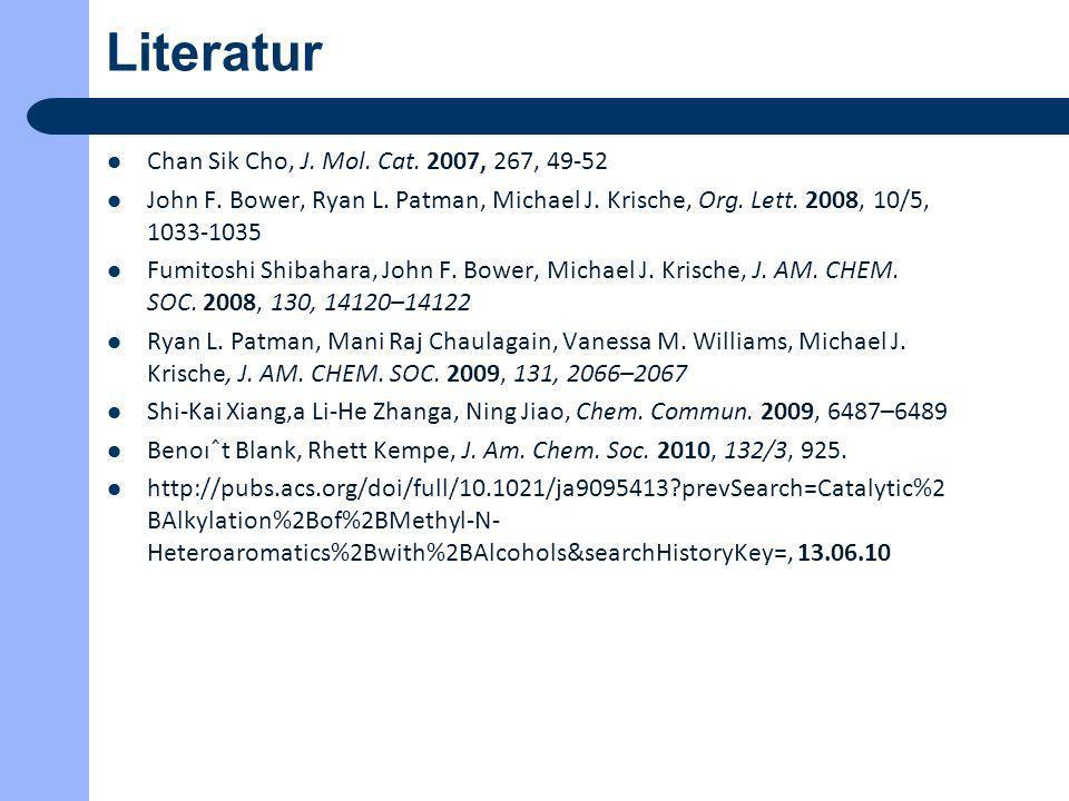 Literatur Chan Sik Cho, J. Mol. Cat. 2007, 267, 49-52