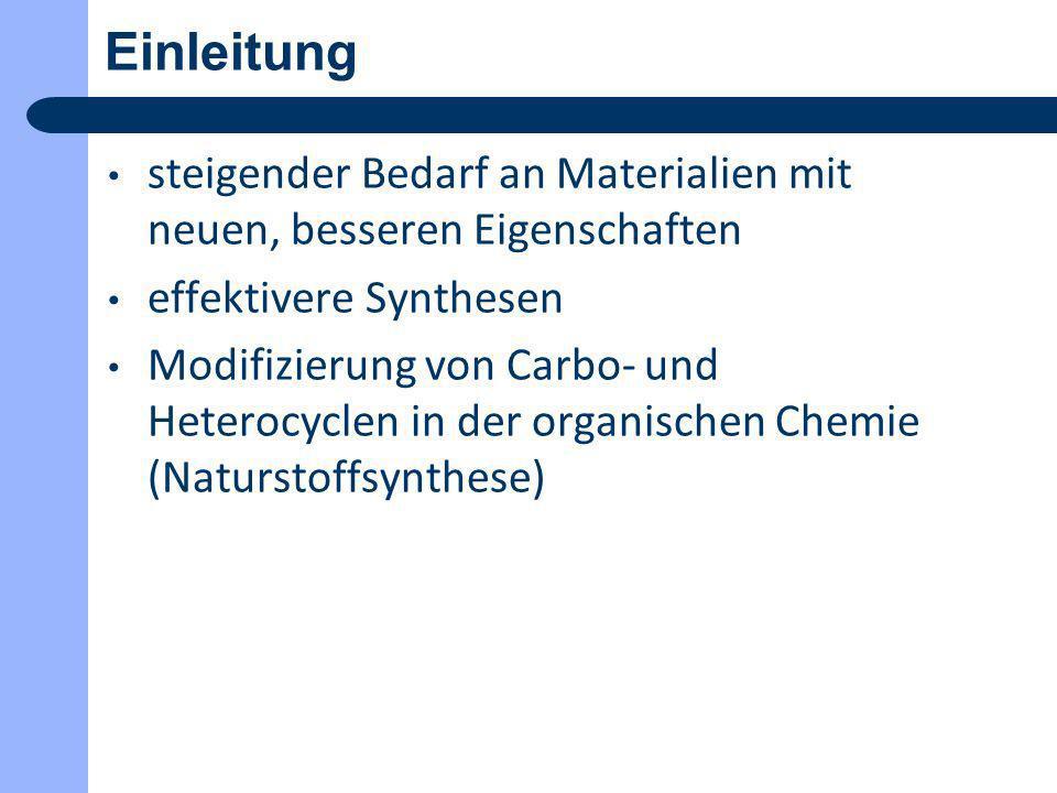 Einleitung steigender Bedarf an Materialien mit neuen, besseren Eigenschaften. effektivere Synthesen.