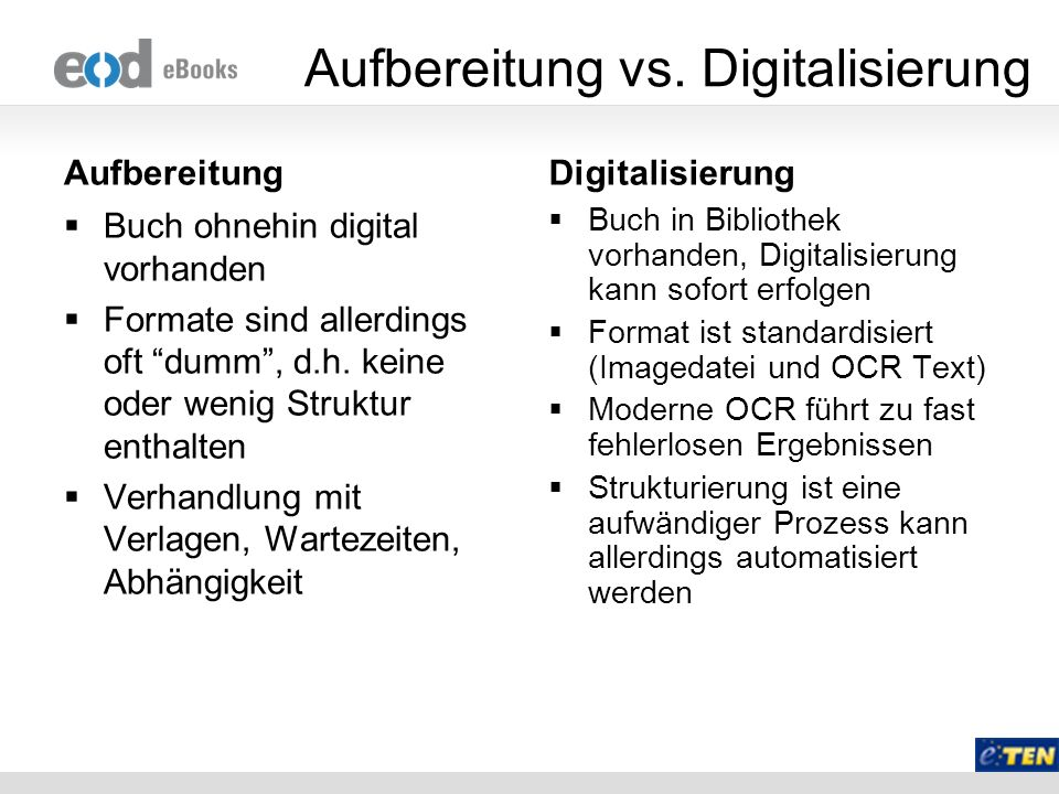 Aufbereitung vs. Digitalisierung