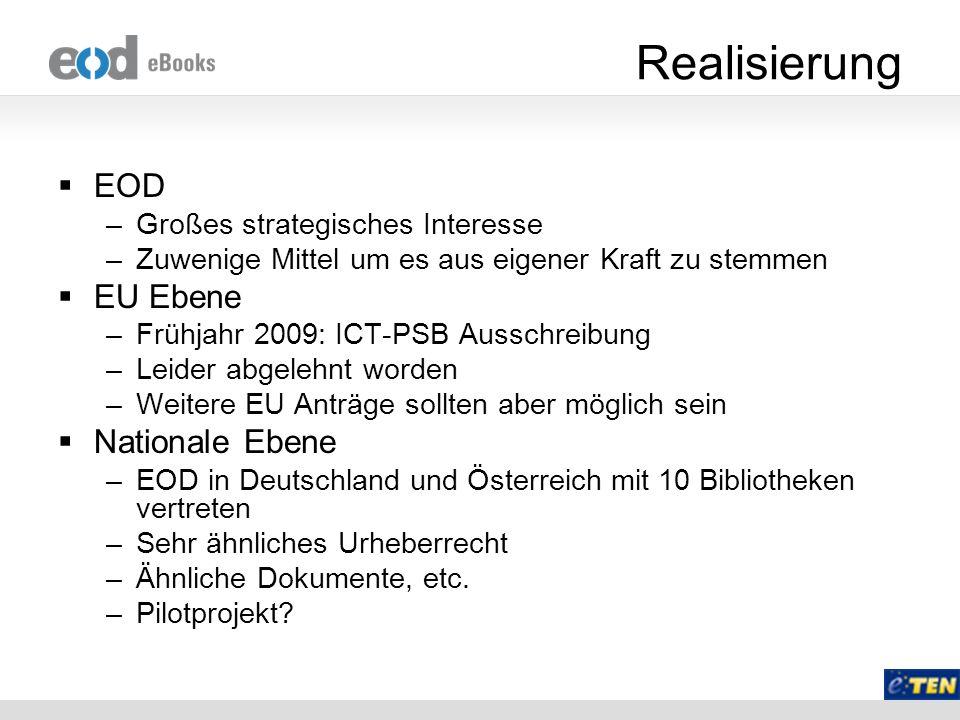 Realisierung EOD EU Ebene Nationale Ebene