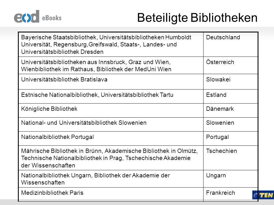Beteiligte Bibliotheken