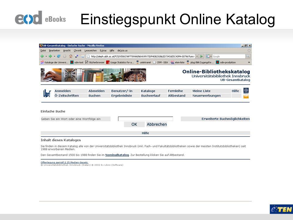 Einstiegspunkt Online Katalog