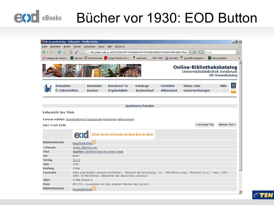 Bücher vor 1930: EOD Button