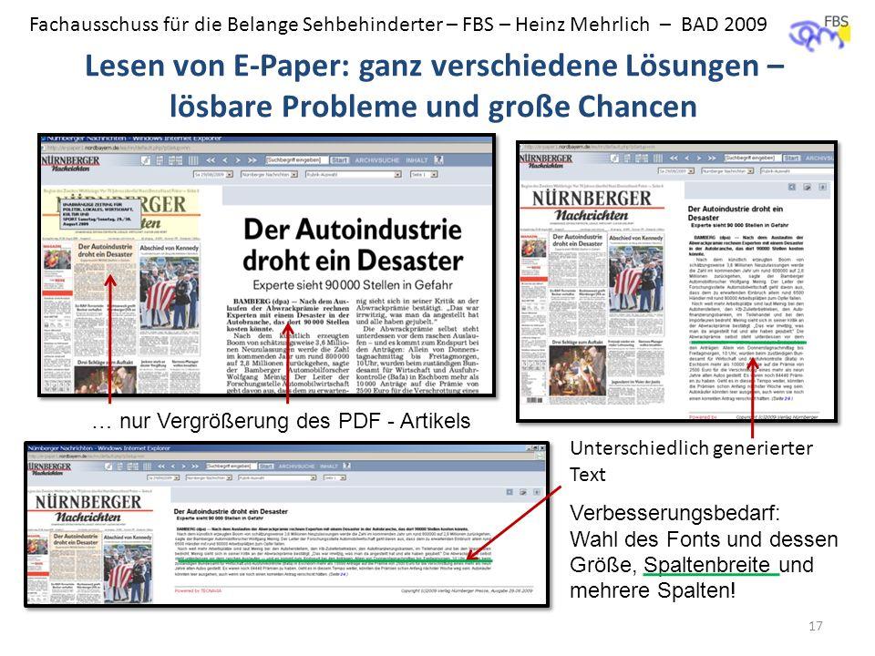 BAD - FBS Lesen von E-Paper: ganz verschiedene Lösungen – lösbare Probleme und große Chancen. … nur Vergrößerung des PDF - Artikels.