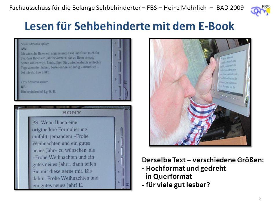 Lesen für Sehbehinderte mit dem E-Book