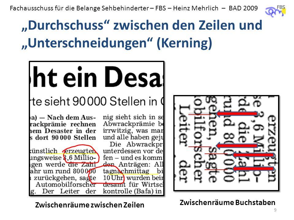 """""""Durchschuss zwischen den Zeilen und """"Unterschneidungen (Kerning)"""